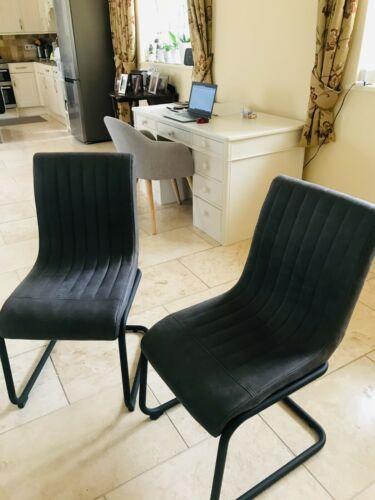 Next Homewares Set Of 2 Bernie Dining Chairs With Black Metal Legs