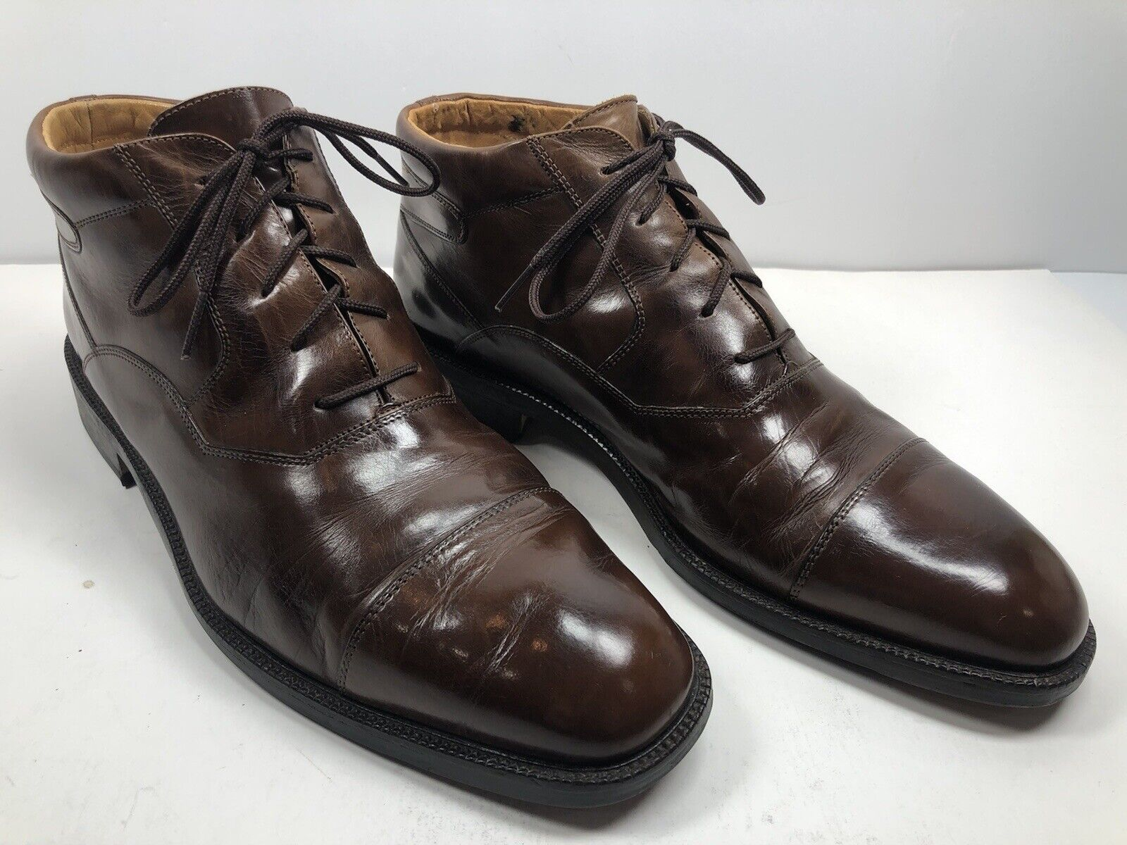 Johnston & Murphy Men's Size 11M Cellini Brown Captoe Leather Oxford Ankle Boot