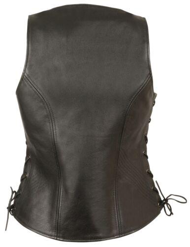 Ladies Zipper Front Black Side Lace Leather Vest w// Zippered Pockets Gun Pockets