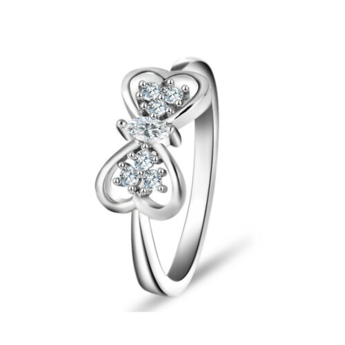 925 Sterling Silver Heart Shaped Butterfly Wedding Platinum Plated Ring