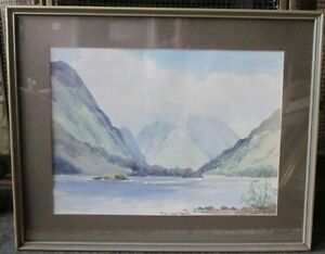 Original-E-GRIEG-HALL-Painting-of-Ullswater-Lake-District-Watercolour-signed