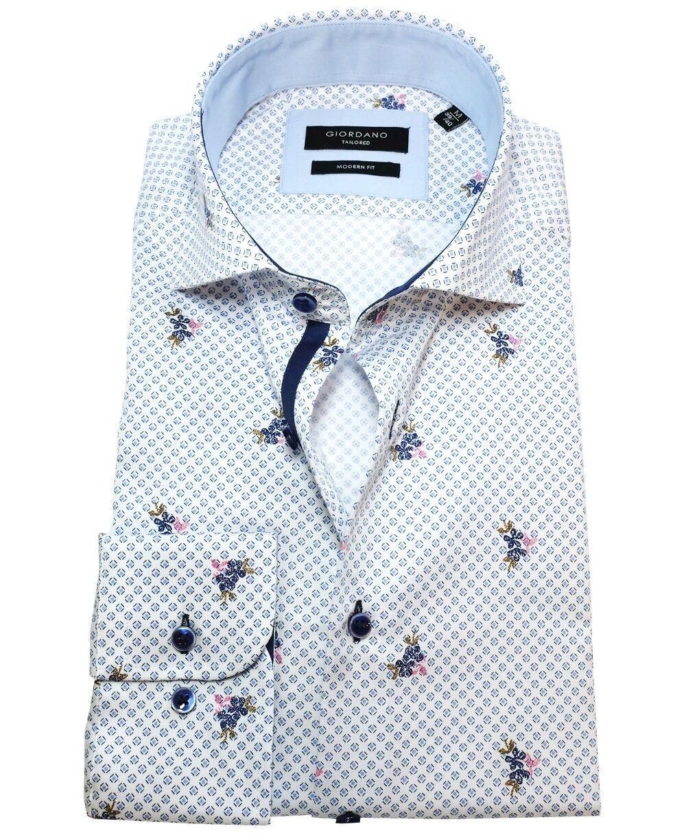 Giordano Langarmhemd Modern Fit Minidessin mit Blüten weiss blue Gr. M bis XXL