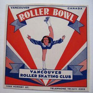 """Vintage Roller Skating Sticker for """"Roller Bowl"""" in Vancouver, Canada *"""