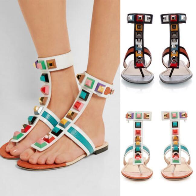 Womens Beach Rivet Flats Slingback Roma Flip Flop Thong Summer Sandal shoes Sz