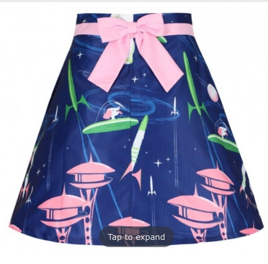Nwt Modcloth Lindy Bop Space Dog  Skirt 6   10 UK