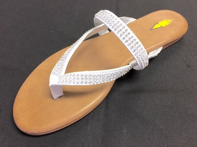 Volatile  Gracee  White Flat Thong Sandal Flip Flop Flop Flop Rhinestone Bling Top Strap 52c8b9