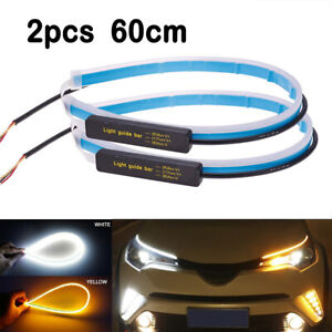 2x-60cm-Slim-Sequential-Flexible-Amber-LED-DRL-Turn-Signal-Strip-Light-Headlight