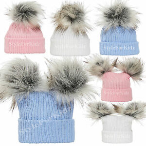 22c5b14019b0 BABY GIRLS BOYS KNITTED POMPOM HATS PINK BLUE WHITE BOBBLE CAP 0-3 ...
