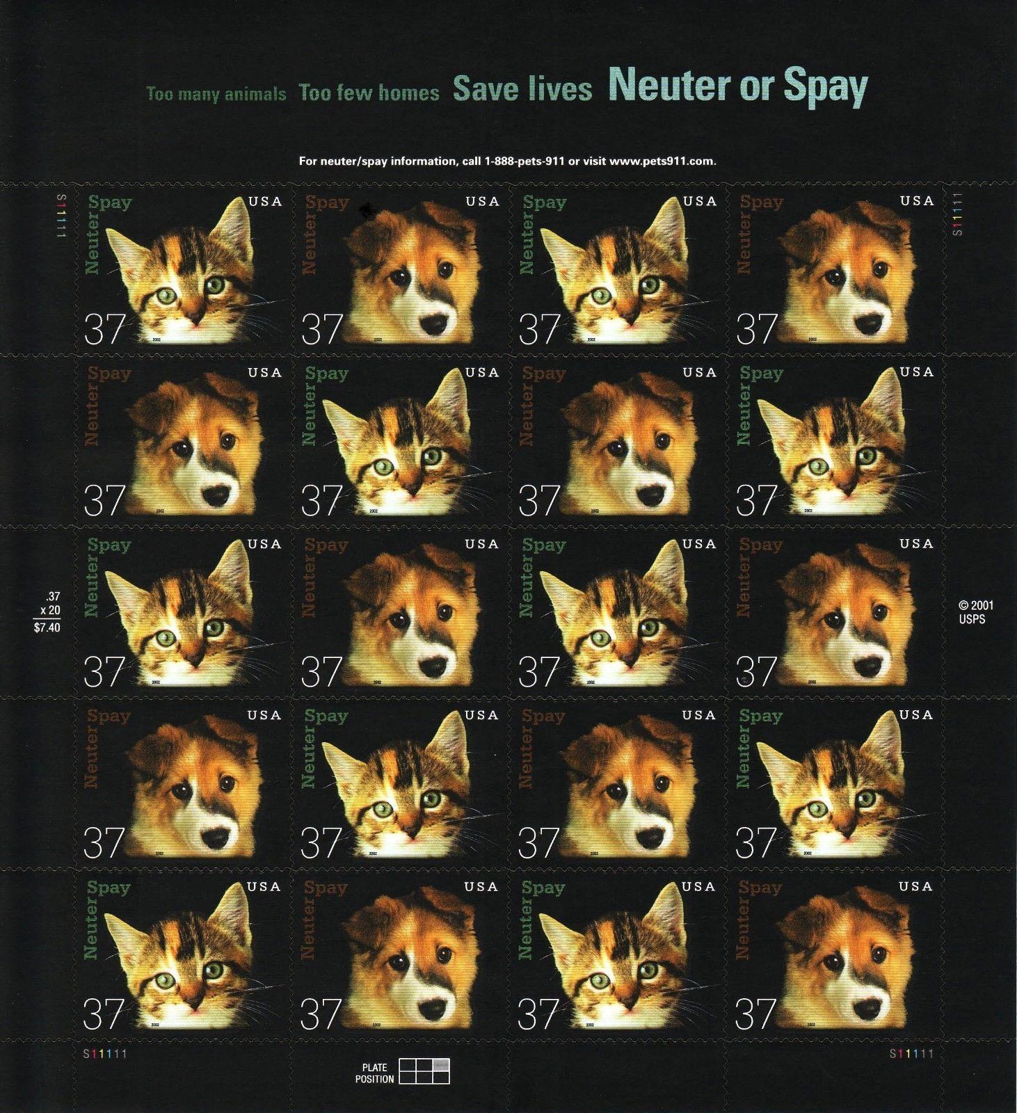 2002 37c Neuter and Spay, Sheet of 20 Scott 3670-71 Min