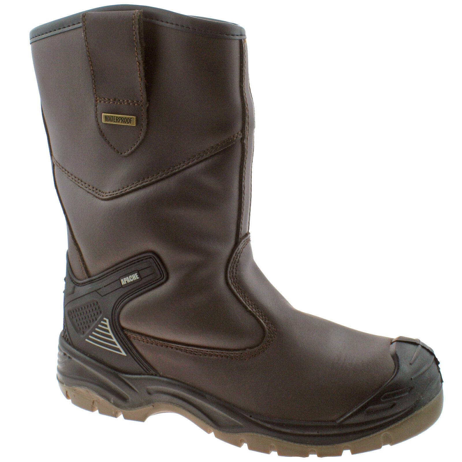 MENS APACHE AP305 braun LEATHER WATERPROOF SAFETY STEEL TOE CAP RIGGER Stiefel