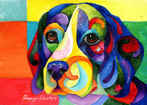 Beagle-Original-5x7-Acrylic-Framed-DOG-Painting-by-Sherry
