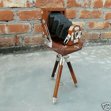 Antique Style Vintage Folding Camera With Wooden Tripod Stand
