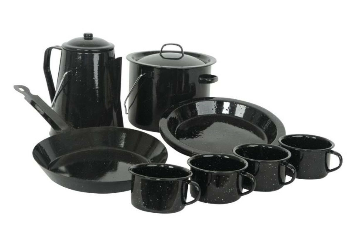 Enamel Cookware Camp Cook Set 13pc 4 Mugs Plates Coffee Pot Billy Frypan Camping