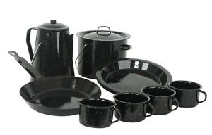 Enamel-Cookware-Camp-Cook-Set-13pc-4-Mugs-Plates-Coffee-Pot-Billy-Frypan-Camping