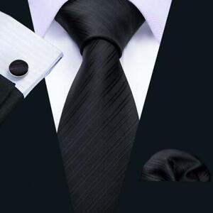 USA-Mens-Black-Silk-Tie-Set-Jacquard-Woven-Solid-Necktie-Wedding-Party-Business