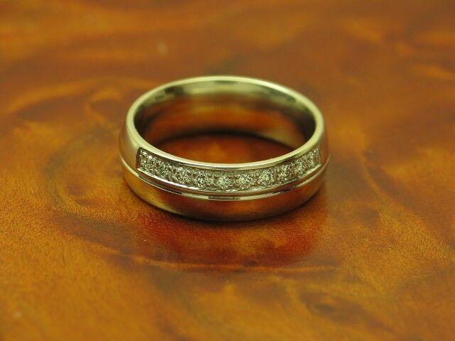 14kt 585 bicolor gold Ring mit 0,10ct Brillant Besatz   Diamant   7,2g   RG 51