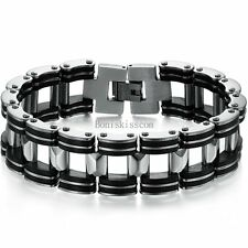 Silver Stainless Steel Biker Motorcycle Chain Black Rubber Link Bracelet for Men