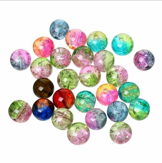 500 CZECH GLASS CRYSTAL CRACKLE ROUND BEAD 8MM MIXED COLOR JEWELRY HAIR CRAFT S