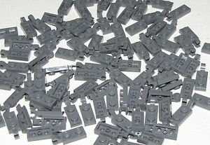 Lego-Lot-of-50-New-Dark-Bluish-Gray-Plates-Modified-1-x-2-with-Clip-Parts