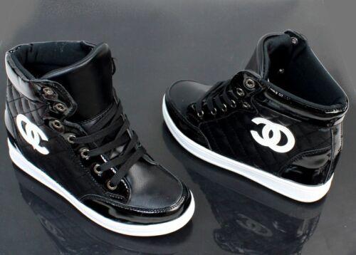 $$$$ Keilabsatz Sneaker Sportschuhe Hidden Wedges Stiefeletten Schwarz !/&+