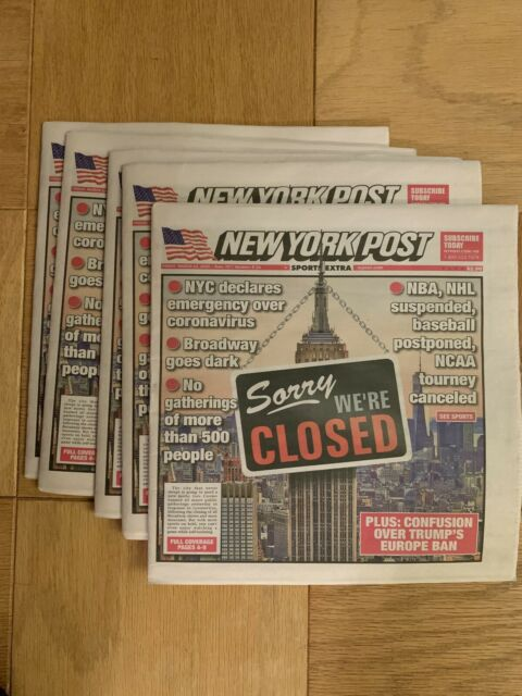 New York Post Newspaper Sorry We're Closed OOP 3//13//2020 Virus NY Stay Home