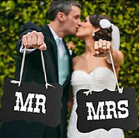 Couple Chair Mr & Mrs Signs for XESU Wedding Party Photo Props Banner Decoration