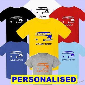 personnalise-Camper-Van-T-shirt-n-039-importe-quel-texte-garcon-fille-100
