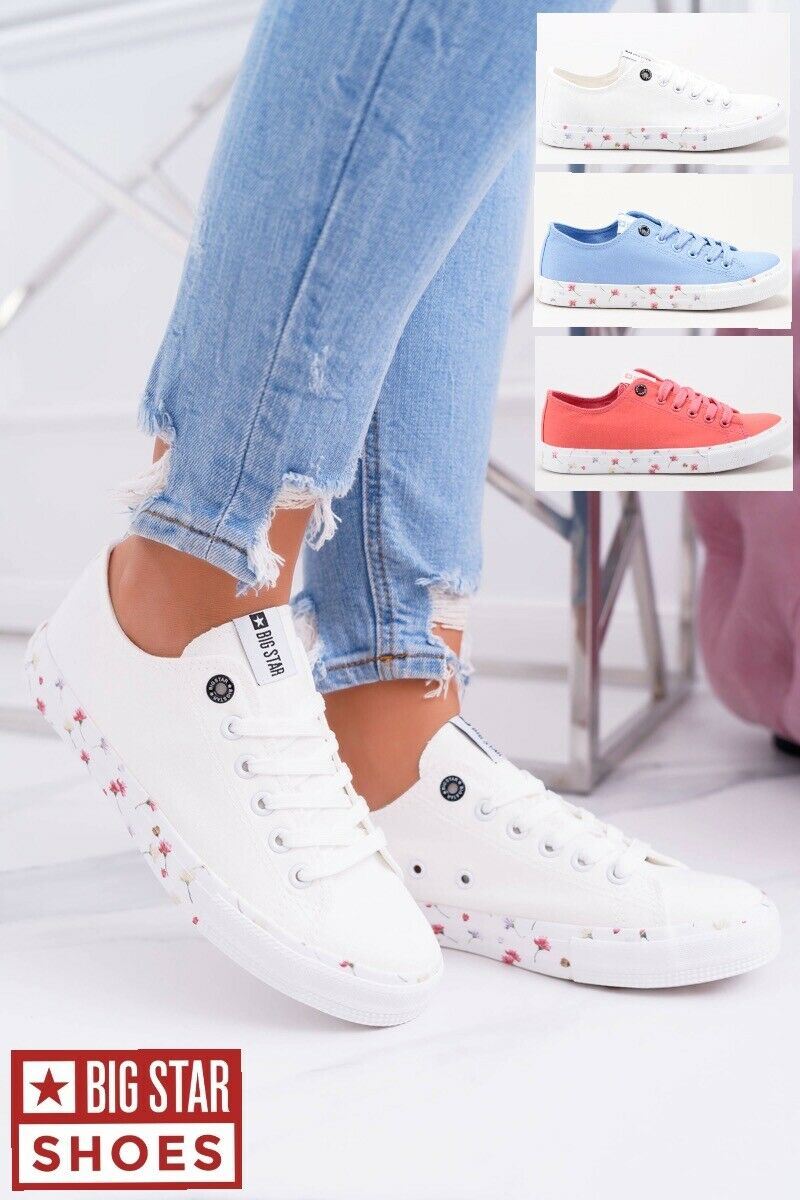 WOMEN'S SNEAKERS LOW BIG STAR WHITE  RED blueE SHOES FLOWERS TRAINERS SIZE 3-8 UK