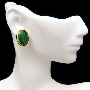 Vintage-14K-Gold-Malachite-Oval-Pierced-Post-Earrings-Sleek-Design-High-Quality