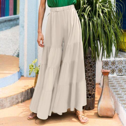 Women Flared Loose Palazzo Culottes Pants Elastic Waist Wide Leg Long Trousers