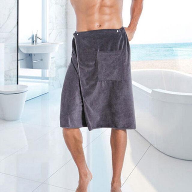 Men/'s Wearable Bath Towel Shower Bath SPA Wrap Skirt Dress Body Beach Bathrobe