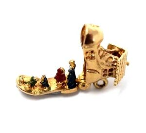 GOLD 9ct Hallmark .375 Boot Vintage Charm Bracelet pendant Gift ... d4a97e480698