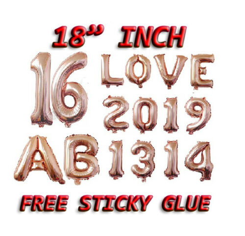 """ROSE GOLD 18/"""" inch Alphabet//Number Letter Foil Balloons Birthday Party Balloon"""
