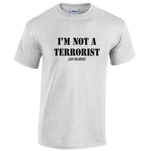 I/'M Not A Terroriste Just Bearded Hommes T-Shirt Drôle Barbe Moustache Movember