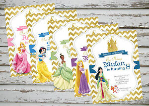 Disney Princess Party invitation printable with free matching Thank