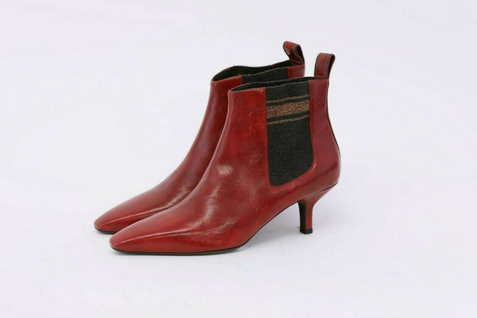 NWOB 1295 Brunello Cucinelli Leather +Beaded Detail Chelsea Booties 40 10US A191