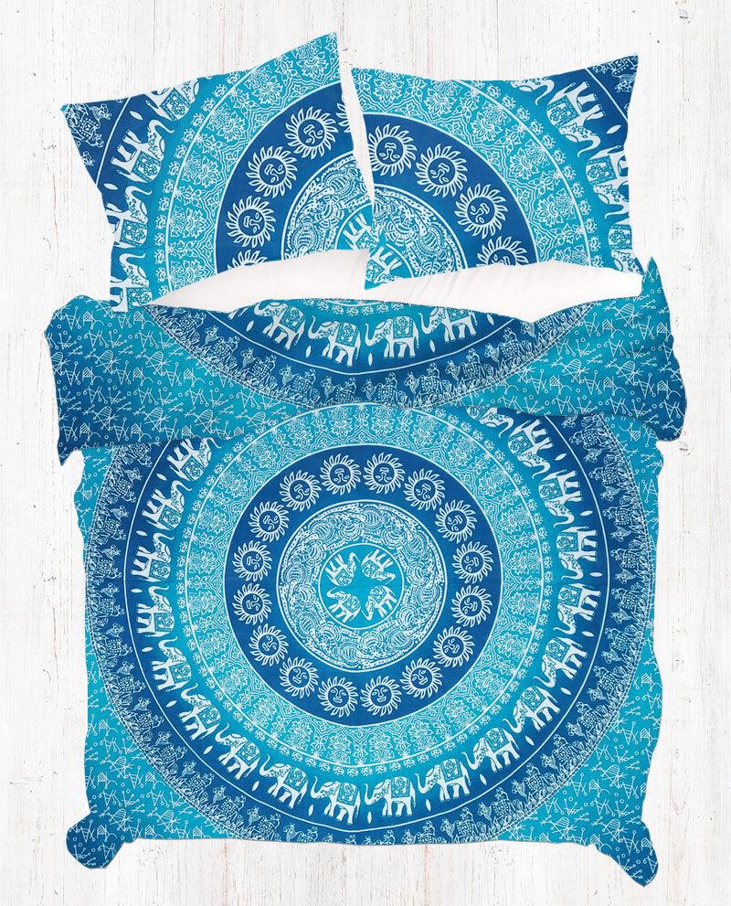 bluee Elephant Mandala Duvet Cover Hippie Queen Cotton Bohemian Quilt Cover Set
