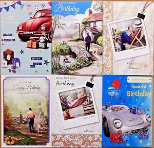 Image Is Loading Pack Of 6 Male Mens Birthday Cards Walking