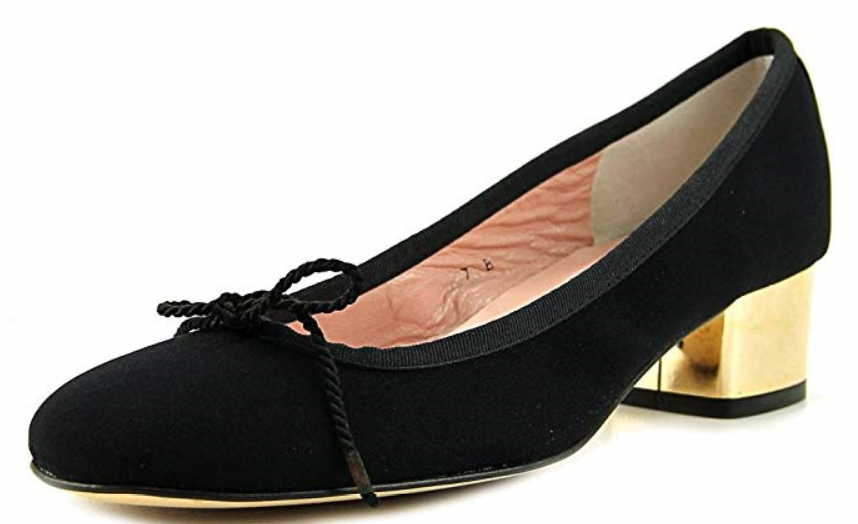 245 size 5.5 Paul Mayer Tango Black   gold Suede Pump Mid Heel Womens shoes NEW