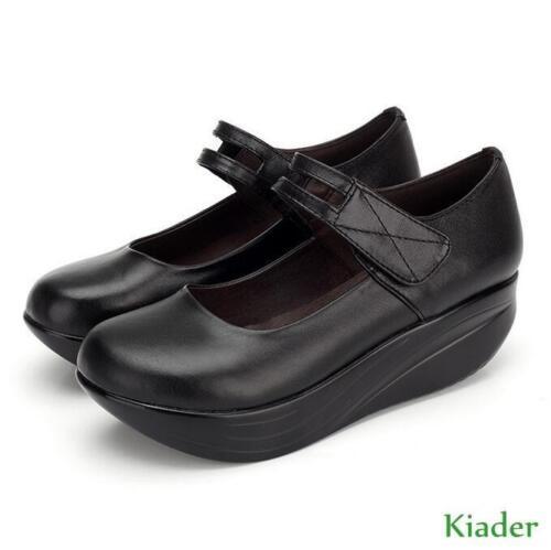 En Talons Jane Mary Noir Nouveau Chaussures Infirmière Bout Femmes Chaussures Rond Cuir Compensés nwyv8OmN0