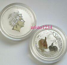 2011 Lunar II Hase Rabbit 1/2 oz coloriert Silber Australien gekapselt Silver