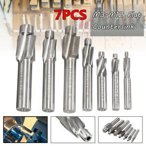 7Pcs M3-M12 HSS-AL 4 Flute Flat Countersink End Mill Cutter Drill Bit Woodwork