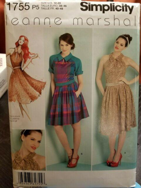 4915481bf5 Simplicity 1755 Misses' Dress & Tie Belt P5 Sizes 12-20 Sewing Pattern U