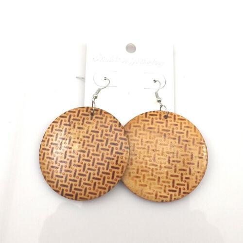Pendientes Redondos De Estampado Animal de madera-perforado o Clip-on 6 Diseños