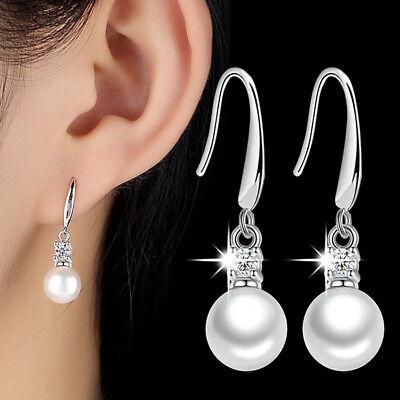 Boucles D/'oreilles femme pendantes bleu roi et blanche courbes en satin perle