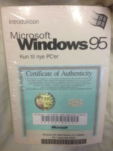 """Danish Microsoft Windows 95 Full Operating System 3.5/"""" Diskettes and Manual New"""