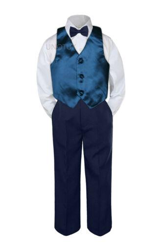 23 Color Vest Navy Bow Tie Pants Boy Baby Toddler Formal Tuxedo Suit 4pc sz S-7
