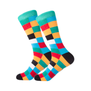 Mens-Crew-Socks-Coloured-Checkers-Novelty-Funny-Funky-Happy-Bright-Cool