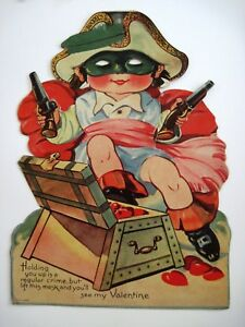 Large-Vintage-Mechanical-Valentine-w-Pirate-Holding-2-Guns-Protecting-Treasure