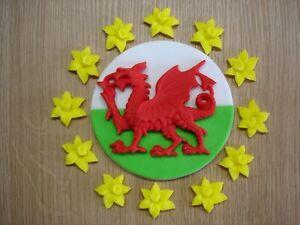 daffodil set for cake welsh dragon cupcake decoration